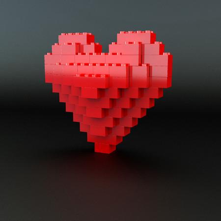 plastic heart: cuore rosso di plastica lucida fatta di kit di costruzione