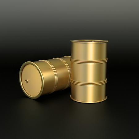 matted: two oil barrels made of matted gold on black background