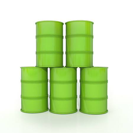 few glossy green barrels made in pyramide isolated on white photo