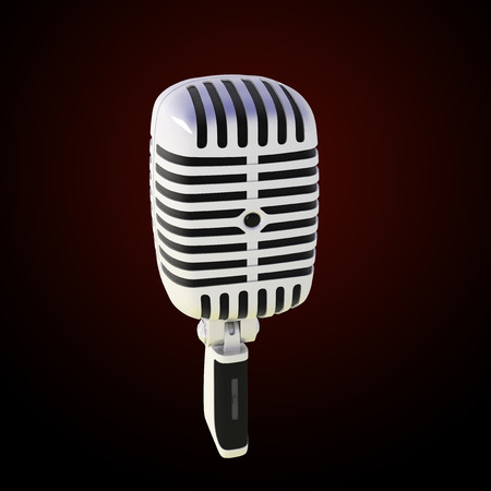 stylish microphone made of glossy metal on dark background photo