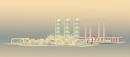 horizontal industrial background with stylized plant facility