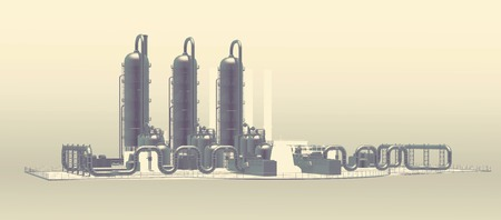 horizontal industrial background with stylized plant facility photo