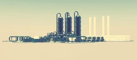 petrolium: horizontal industrial background with stylized plant facility