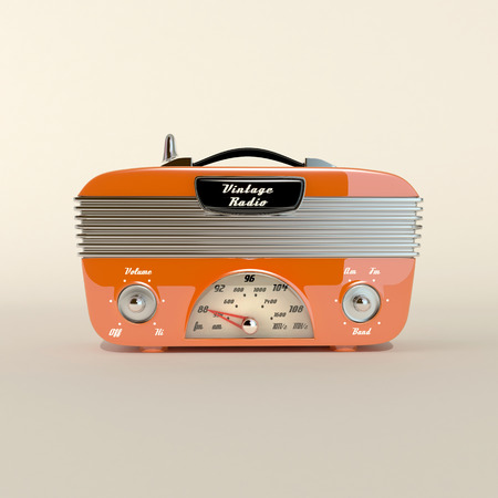 old style design radio in abstract white space photo