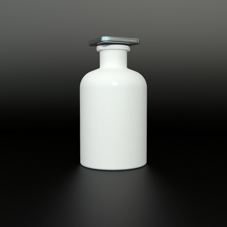single white ceramic bottle on black background photo