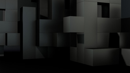 abstract architectural business composition build of many black blocks photo