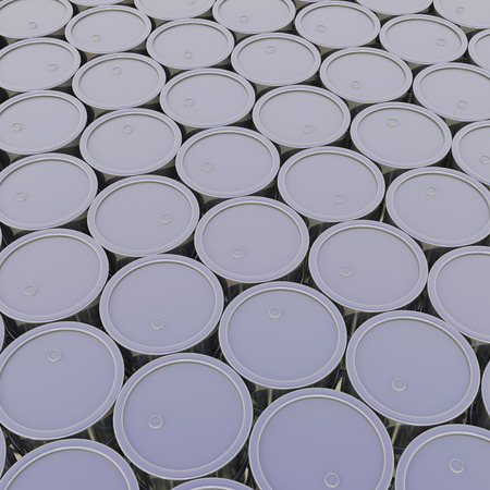 industrial background build of many closed metal barrels photo