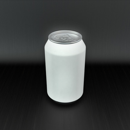 single blank aluminum soft drink can on black background photo
