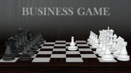 business composition with set of classic chess on dark wooden background Stock Photo