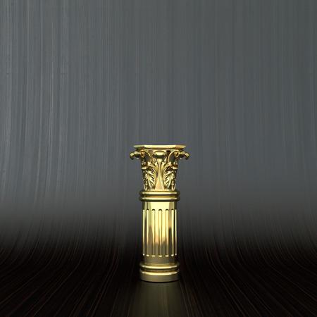 ornate golden column with capitel on dark business background photo