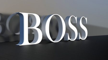 Huge 3d word Boss in abstract business interior photo