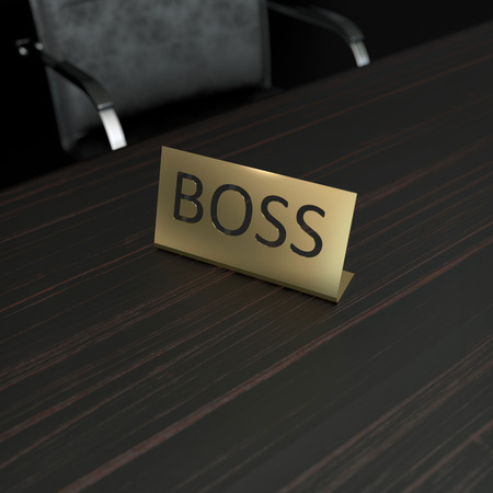 business composition with maatted metal plate with boss word photo