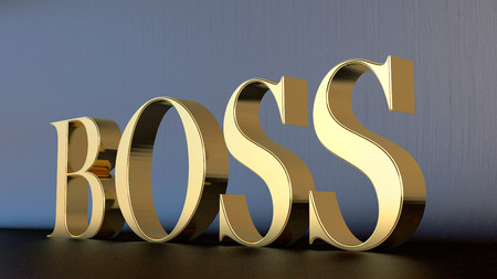 Huge 3d word Boss made of gold on dark background photo