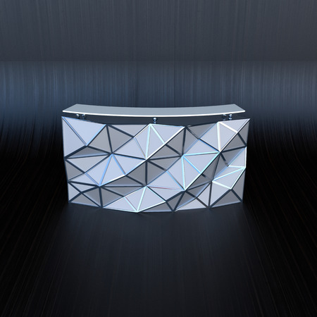 modern design reception desk in abstract business interior photo