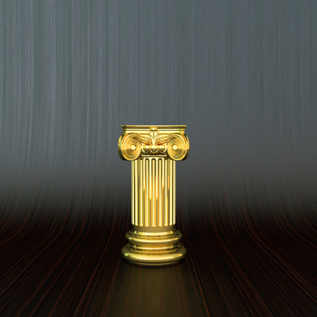 ornate golden column with capitel in abstract business background photo