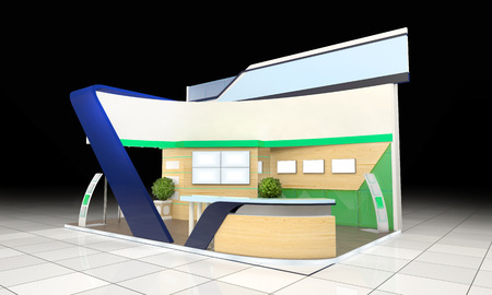 business exhibition: modern business exhibition stand design with blank banner and reception counter Stock Photo