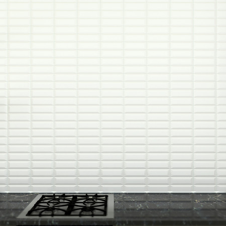 abstract kitchen interior with wall made of white ceramic tiles photo