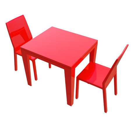 red glossy table and two chairs isolated on white photo