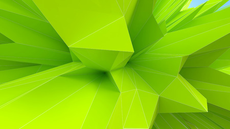 abstract architectural background as a part of green triangular object