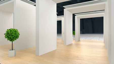 abstract exhibition interior with laminate flooring and blank\ white walls with lighting