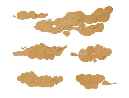 crafted: a set of hand crafted paper clouds isolated on white Stock Photo