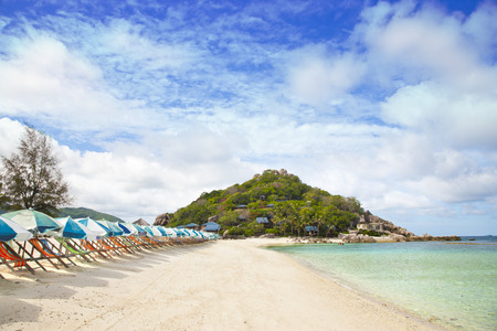 beautiful tropical beach with sunbeds and umbrellas photo