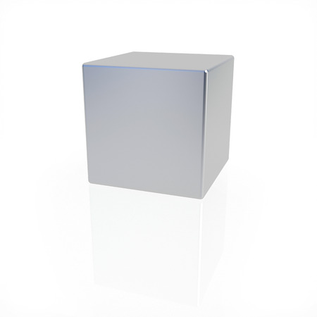 matted: matted metal cube standing on white background
