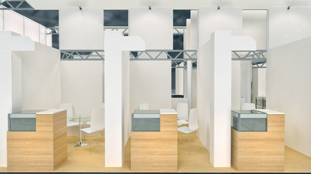 modern exhibition space with booths and counters photo