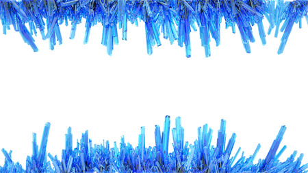 many fine blue crystals forming an abstract frame isolated on white photo
