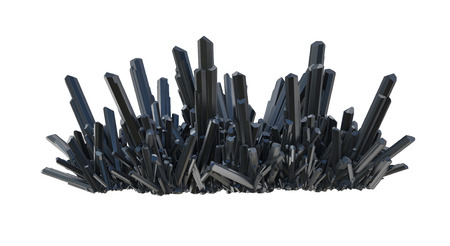 a bunch of black carbon crystals isolated on white photo