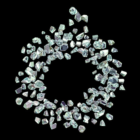 chrystals: scattering of shiny gems irregular shape forming a circle isolated on black