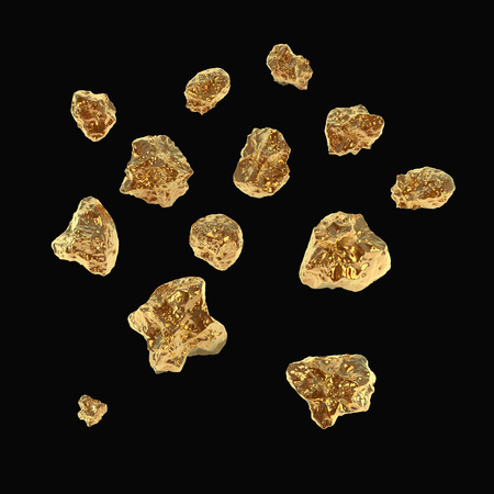 few fine golden nuggets isolated on black photo