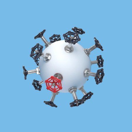 sphere of influence: conceptual composition with rich choice of valves on one abstract object Stock Photo