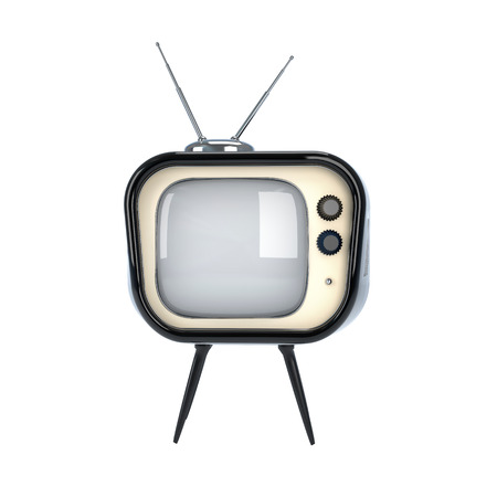 old-style fun televisor made of color plastic isolated on white photo