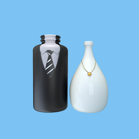 concept with ceramic bottles decorated like fine dressed couple photo