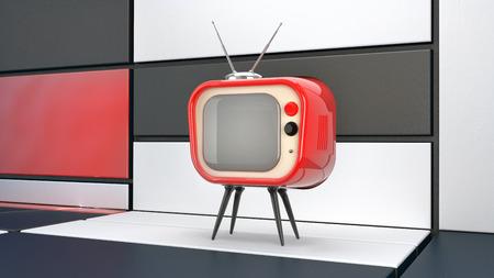 televisor: fun stylized retro televisor in abstract interior surrounding