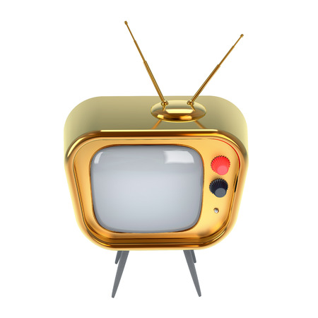 stylized old-style television made of gold isolated on white photo