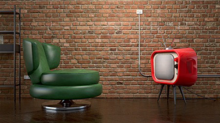 televisor: abstract dark interior with vintage furniture and red tv Stock Photo