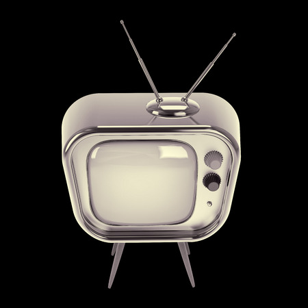 stylized old-style television made of glossy metal isolated on white photo