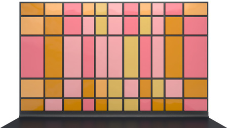 abstract architectural background with glossy plastic panels in warm color palette photo
