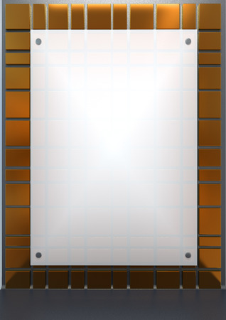plexiglas: white translucent plastic mounted on a golden wall