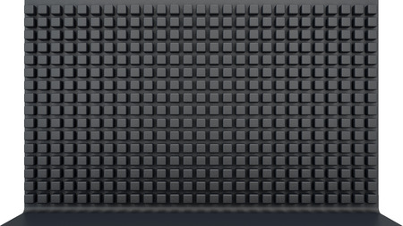 matted: black matted panel with a variety of cubes with rounded corners