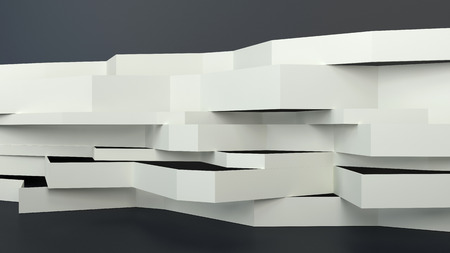 wide open: abstract architectural composition with flatten white panels