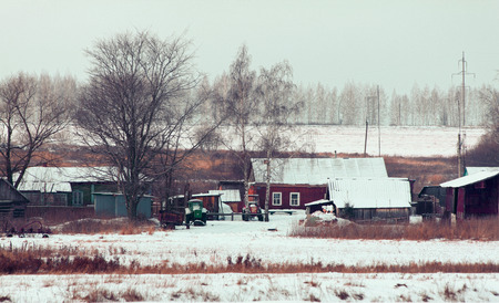 quite: winter is comming to quite small village somewhere in fields