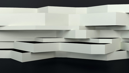 flatten: abstract architectural composition with flatten white panels