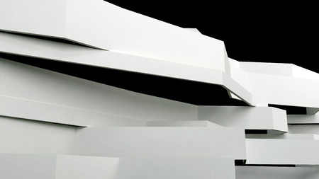 flatten: abstract architectural composition with flatten white panels in perspective