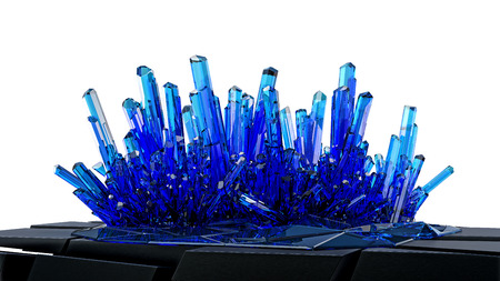 methamphetamine: group of fine clear blue crystals isolated on white