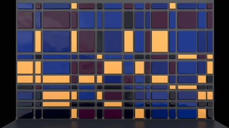 room accents: sfondo architettonico con parete vuota fatta di pannelli di plastica lucida in elegante palette colori