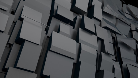 matted: black matted blocks forming huge wall shown in perspective