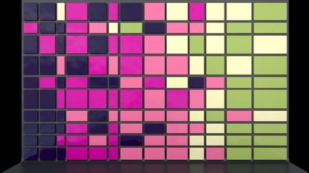 architectural background with empty wall made of glossy plastic panels in stylish colors photo